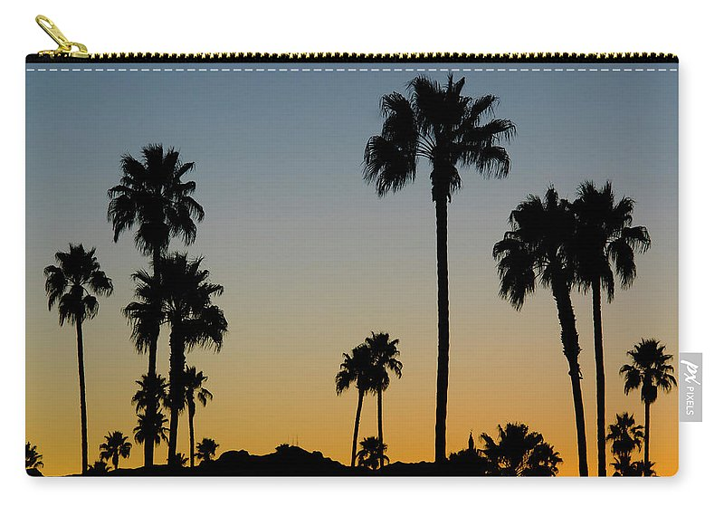 Scenics Carry-all Pouch featuring the photograph Palm Trees At Sunset by Chapin31