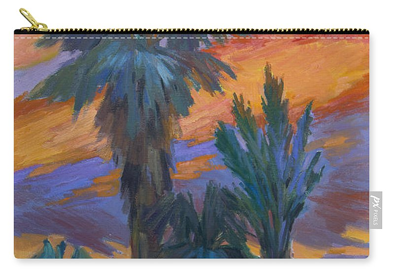 Palms Carry-all Pouch featuring the painting Palms And Sunset by Diane McClary