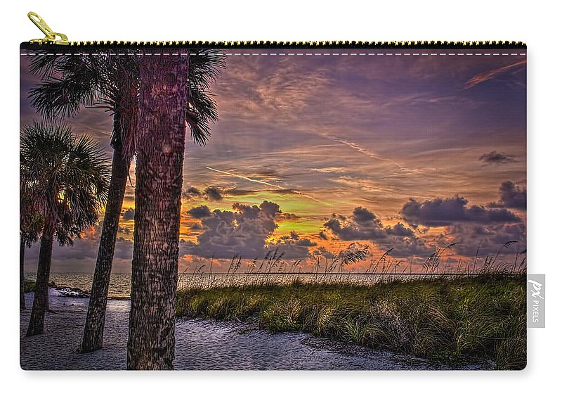 Palm Trees Carry-all Pouch featuring the photograph Palms Down To The Beach by Marvin Spates