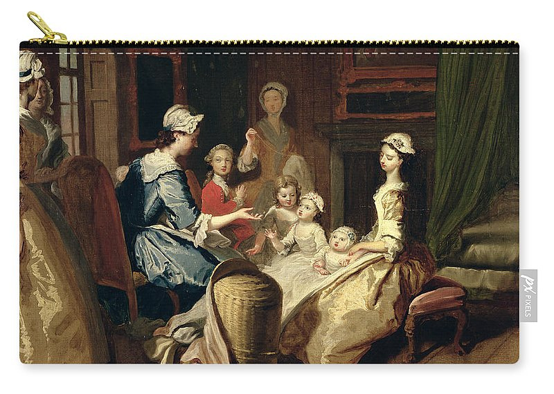 Children Carry-all Pouch featuring the painting Pamela Tells A Nursery Tale by Joseph Highmore