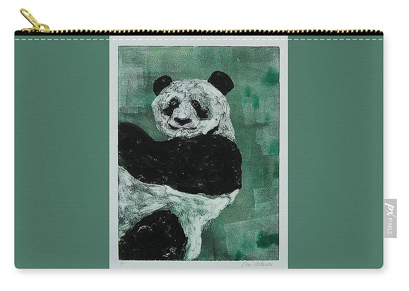 Panda Carry-all Pouch featuring the mixed media Panda - Monium by Cori Solomon