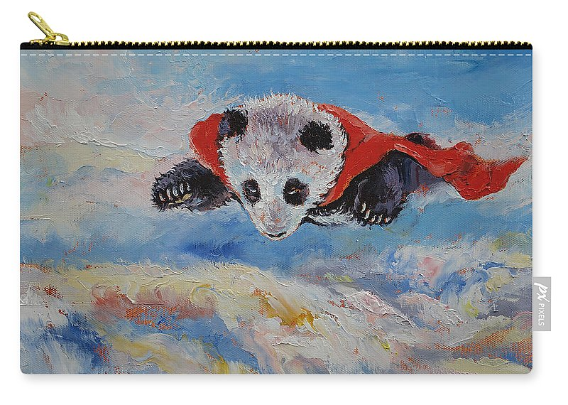 Children's Room Carry-all Pouch featuring the painting Panda Superhero by Michael Creese