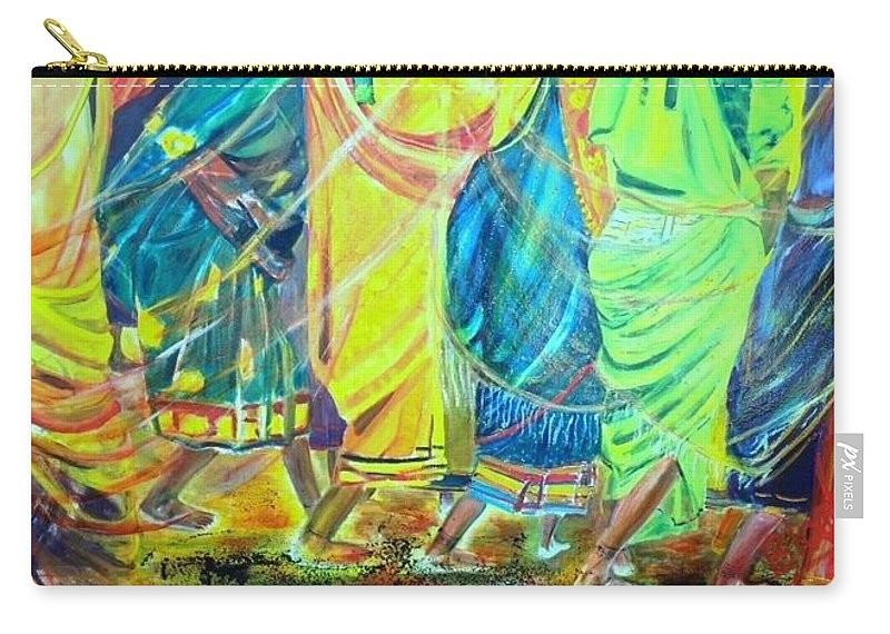 Women Walking Carry-all Pouch featuring the painting Panjim by Peggy Blood