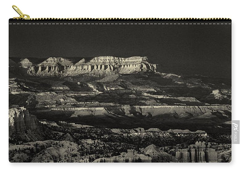 North America Carry-all Pouch featuring the photograph Panorama Bryce Canyon Storm In Black And White by Dave Welling
