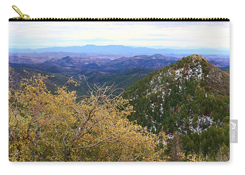 Roena King Carry-all Pouch featuring the photograph Panorama Emory Pass Vista Nm by Roena King