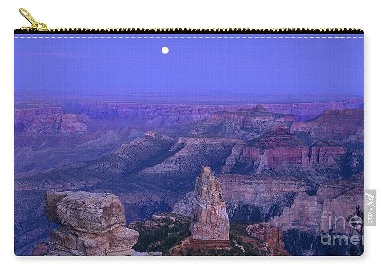 North America Carry-all Pouch featuring the photograph Panorama Moonrise Over Point Imperial Grand Canyon National Park by Dave Welling