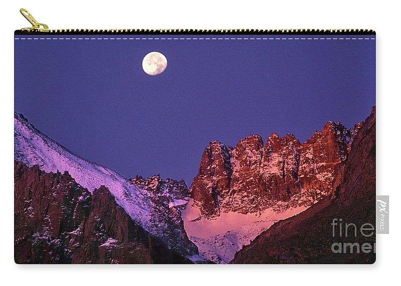 North America Carry-all Pouch featuring the photograph Panorama Moonset Middle Palisades Glacier Eastern Sierras California by Dave Welling