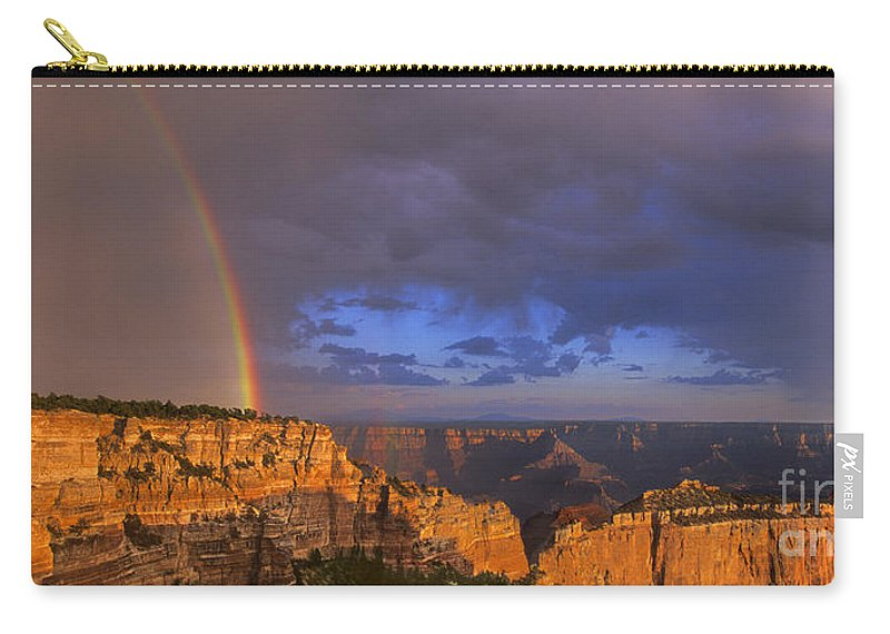 North America Carry-all Pouch featuring the photograph Panorama Rainbow Over Cape Royal North Rim Grand Canyon National Park by Dave Welling