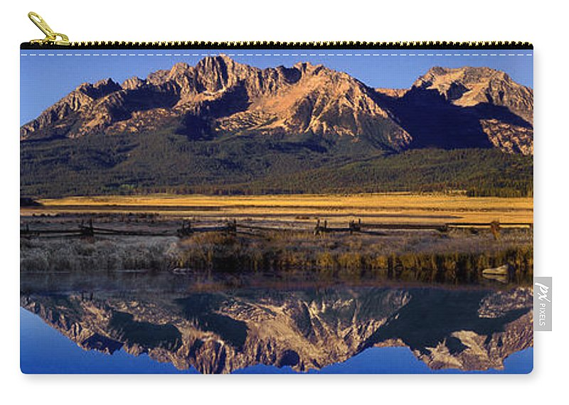 North America Carry-all Pouch featuring the photograph Panorama Reflections Sawtooth Mountains Nra Idaho by Dave Welling