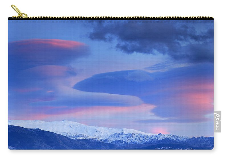 Sunset Carry-all Pouch featuring the photograph Panoramic Lenticular Clouds Over Sierra Nevada National Park by Guido Montanes Castillo