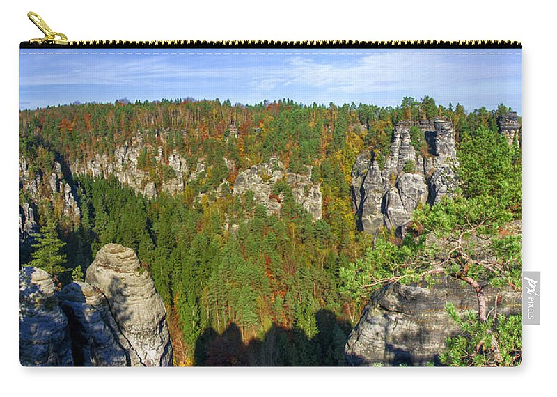 Germany Carry-all Pouch featuring the photograph Panoramic View Of The Elbe Sandstone Mountains by Sun Travels