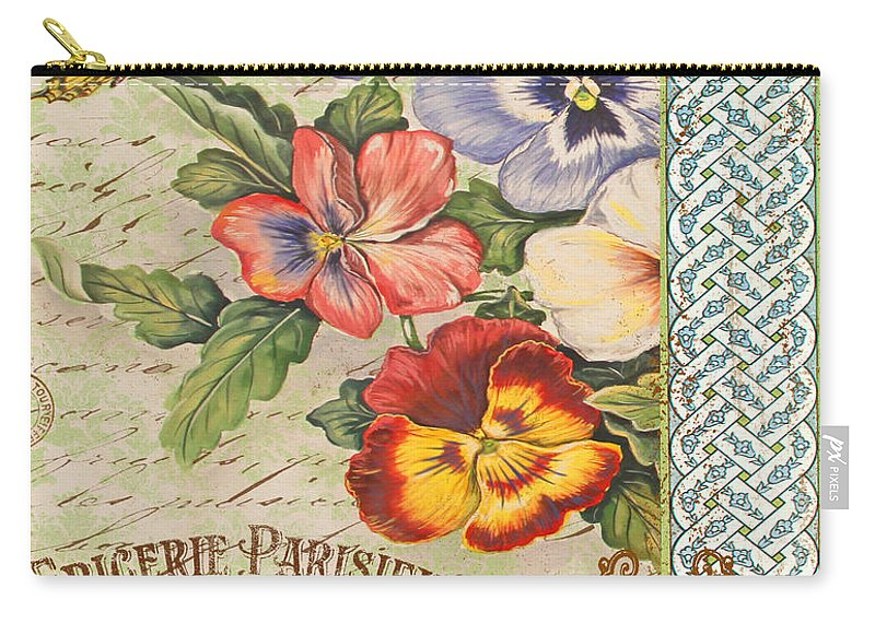 Watercolor Painting Carry-all Pouch featuring the painting Pansy Garden-b by Jean Plout