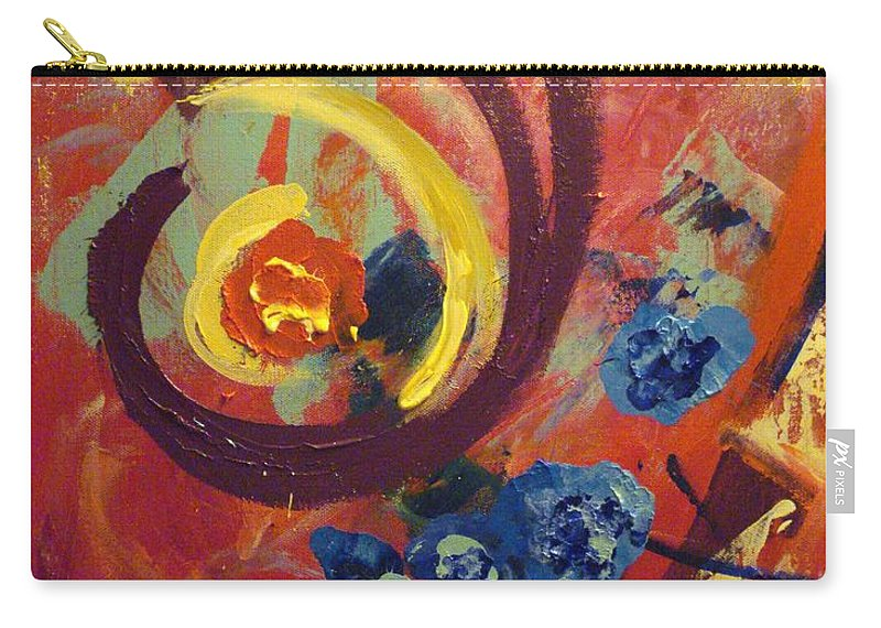 Abstract Carry-all Pouch featuring the painting Pansymania by Donna Tuten
