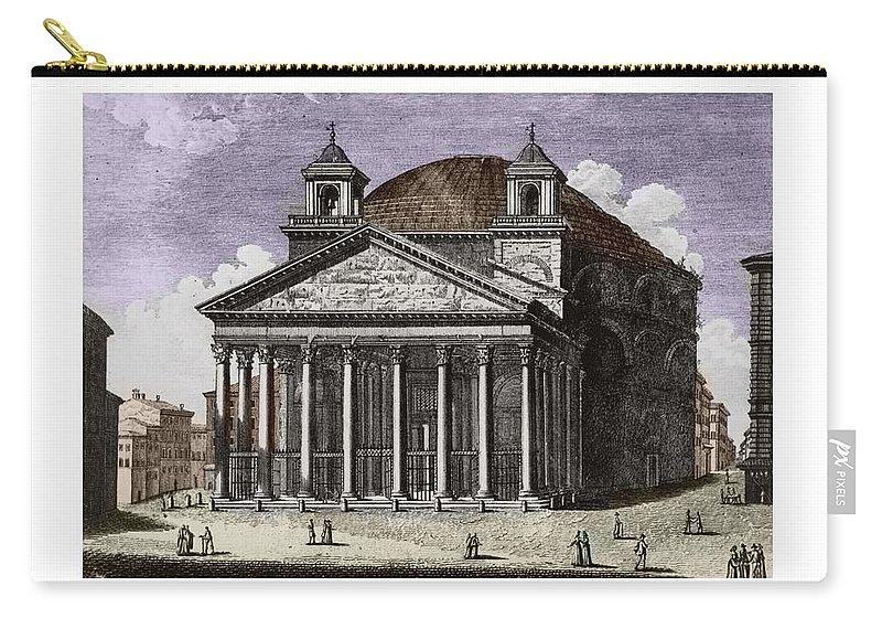 Pantheon Carry-all Pouch featuring the digital art Pantheon Santa Maria Della Rotonda by John Madison