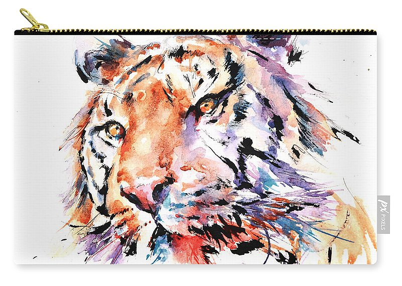 Panthera Carry-all Pouch featuring the painting Panthera Tiger II by Stephie Butler