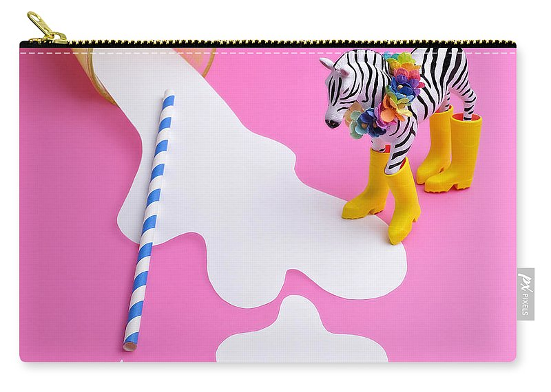 Milk Carry-all Pouch featuring the photograph Paper Craft Glass Of Spilled Milk With by Juj Winn