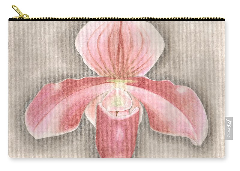 Ladyslipper Carry-all Pouch featuring the painting Paph. Atlantinet by Saralyn Cumberledge