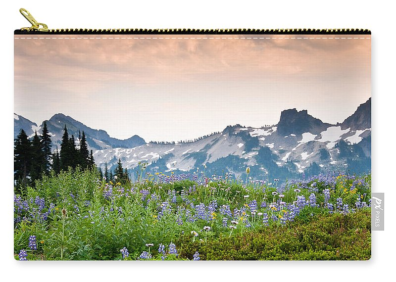 Alpine Carry-all Pouch featuring the photograph Paradise Meadows And The Tatoosh Range by Jeff Goulden
