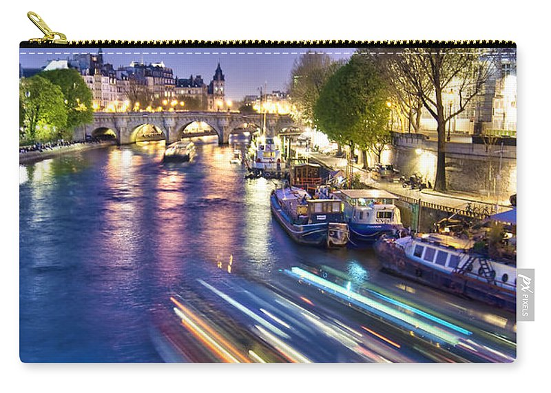 Paris Carry-all Pouch featuring the photograph Paris Blues by Delphimages Photo Creations