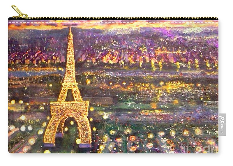 Painting Carry-all Pouch featuring the mixed media Paris City Of Lights by Rita Brown