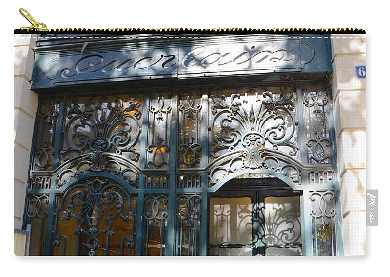 Guerlain Cosmetic Storefront In Paris Carry-all Pouch featuring the photograph Paris Guerlain Storefront Boutique - Paris Guerlain Blue Door Art Nouveau Art Deco Door by Kathy Fornal