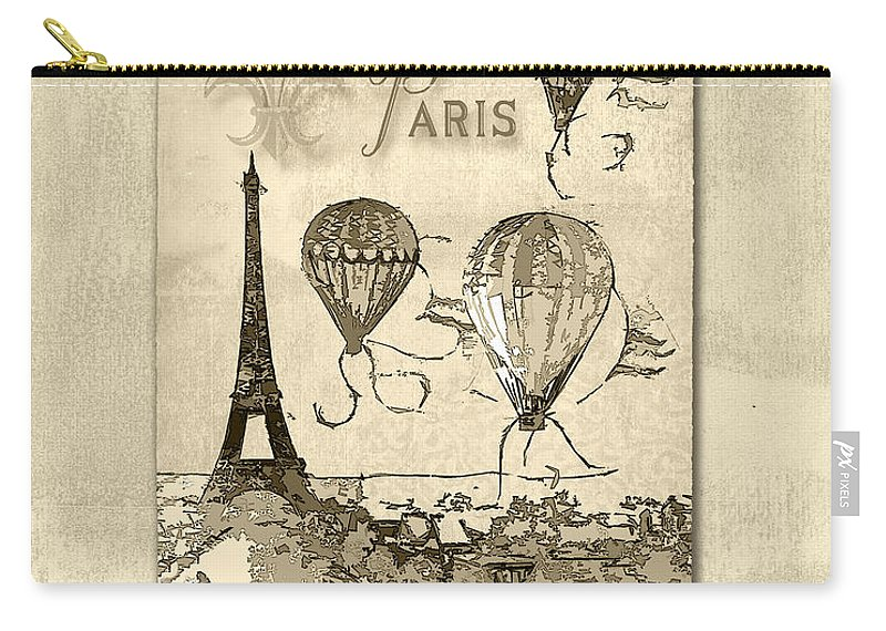 Eiffel Tower Carry-all Pouch featuring the mixed media Paris In Sepia by Lee Owenby