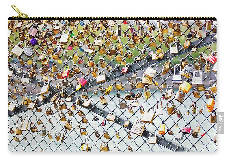 Love Carry-all Pouch featuring the photograph Paris - Locks Of Love by Pati Photography