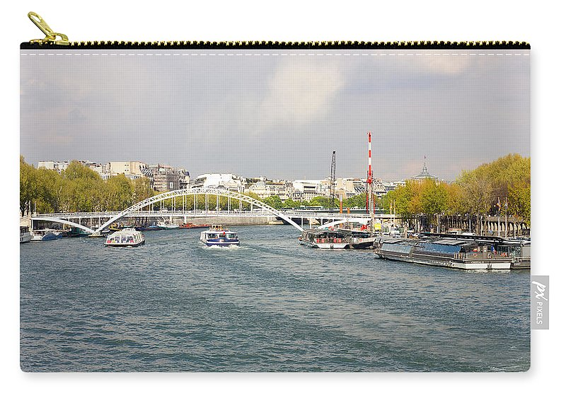 Landscape Carry-all Pouch featuring the photograph Paris River Cityscape by Pati Photography