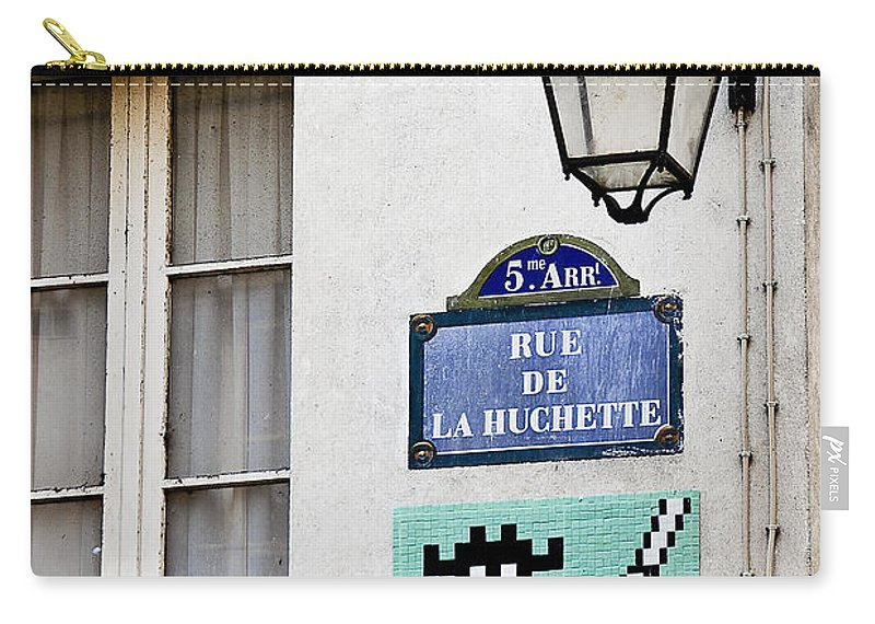 Photography Carry-all Pouch featuring the photograph Paris Street Art - Space Invader by Ivy Ho