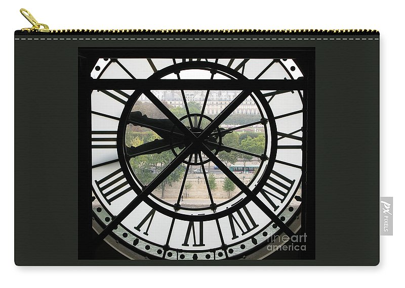 Clock Carry-all Pouch featuring the photograph Paris Time by Ann Horn