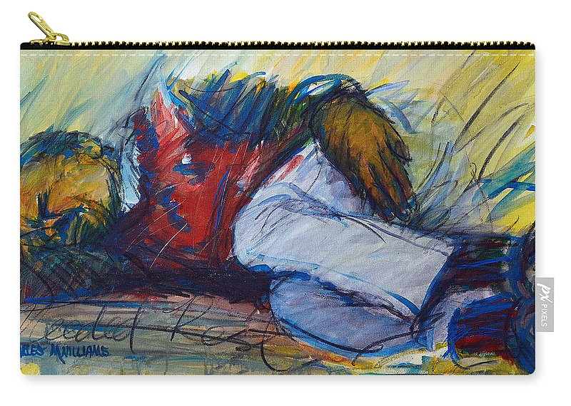 Sleep Carry-all Pouch featuring the painting Park Bench Sleeper				 by Charles M Williams