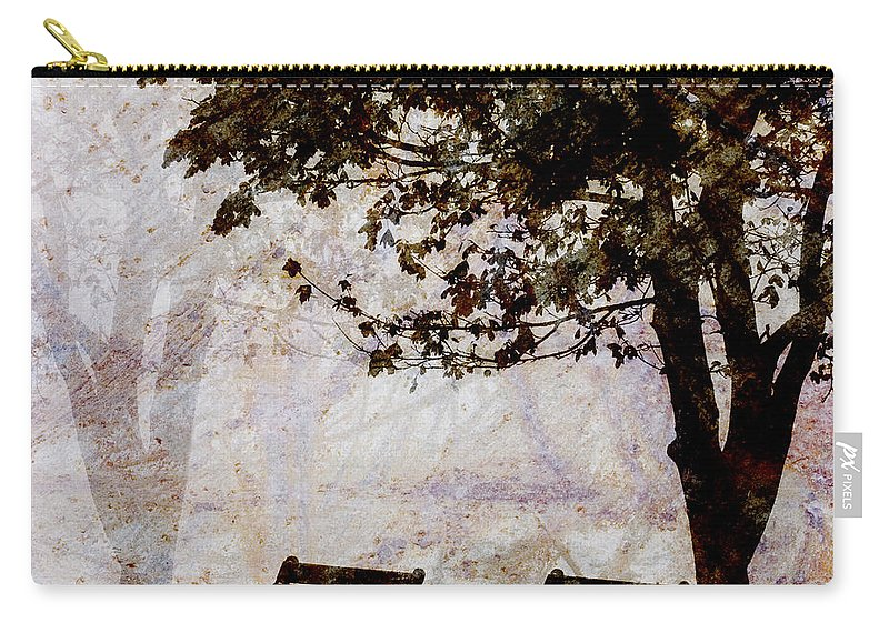 Two Carry-all Pouch featuring the photograph Park Benches Square by Carol Leigh