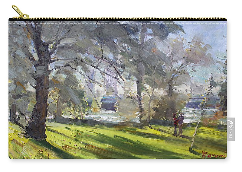 Perk Carry-all Pouch featuring the painting Park By Niagara Falls River by Ylli Haruni