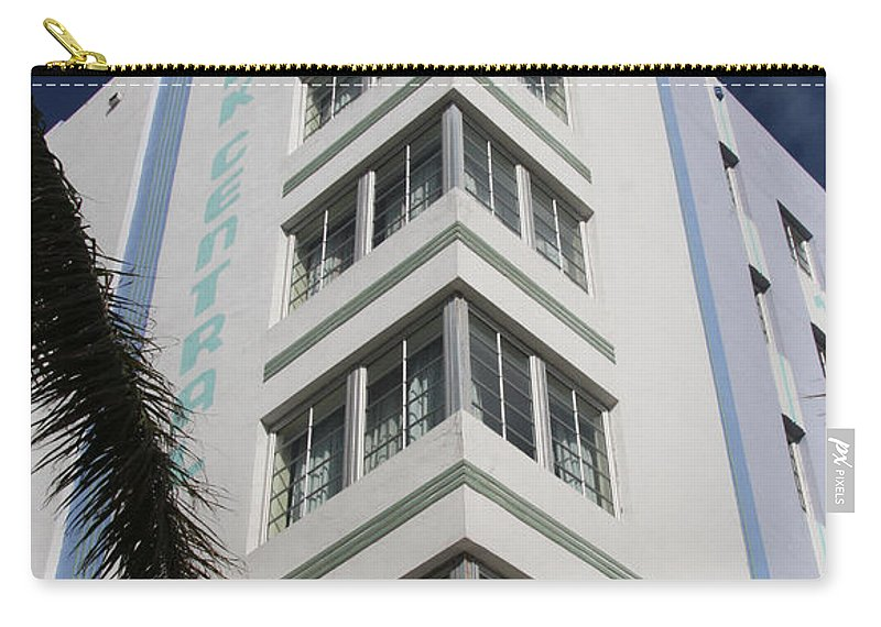 Park Central Building Carry-all Pouch featuring the photograph Park Central Building - Miami by Christiane Schulze Art And Photography