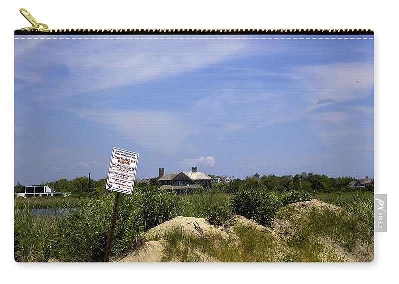 Beach Carry-all Pouch featuring the photograph Parking By Permit - Town Of Southhampton by Madeline Ellis