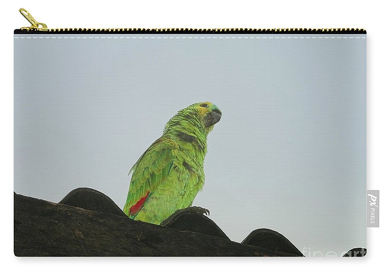 Animals Carry-all Pouch featuring the digital art Parrot by Carol Ailles