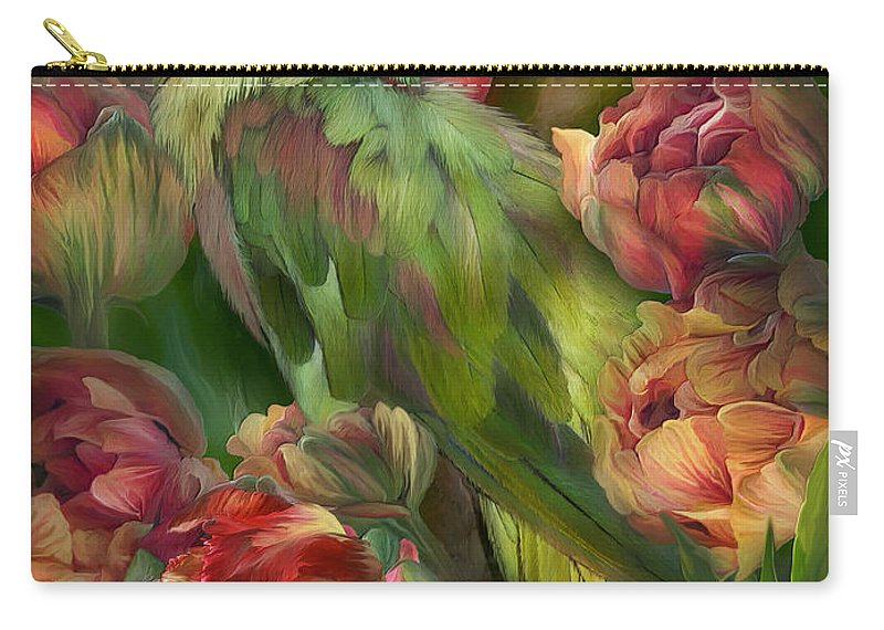 Parrot Carry-all Pouch featuring the mixed media Parrot In Parrot Tulips by Carol Cavalaris