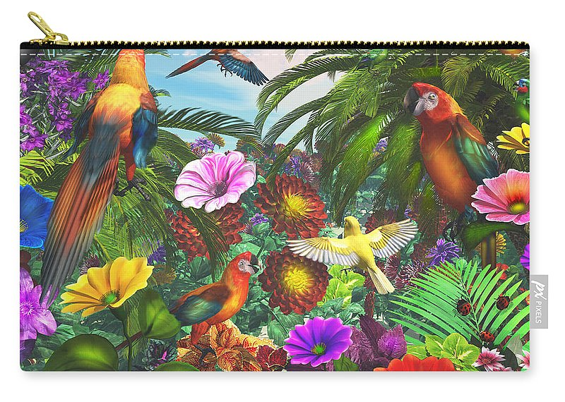 Art Licensing Carry-all Pouch featuring the mixed media Parrot Jungle by Caplyn Dor