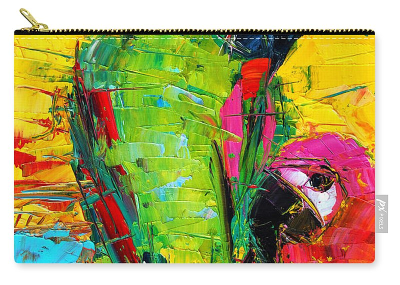 Parrot Lovers Carry-all Pouch featuring the painting Parrot Lovers by Mona Edulesco