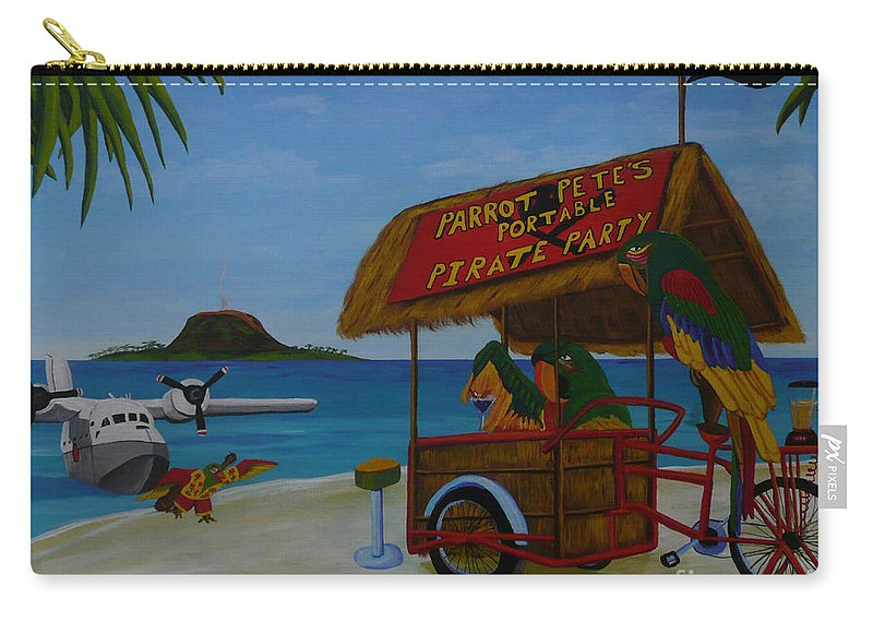 Jimmy Buffett Carry-all Pouch featuring the painting Parrot Pete's Portable Pirate Party by Anthony Dunphy