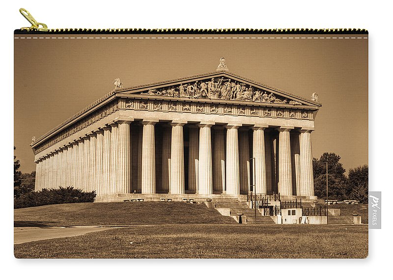 20120807-dsc00005_6_7enhancer Carry-all Pouch featuring the photograph Parthenon In Sepia 3 by Douglas Barnett
