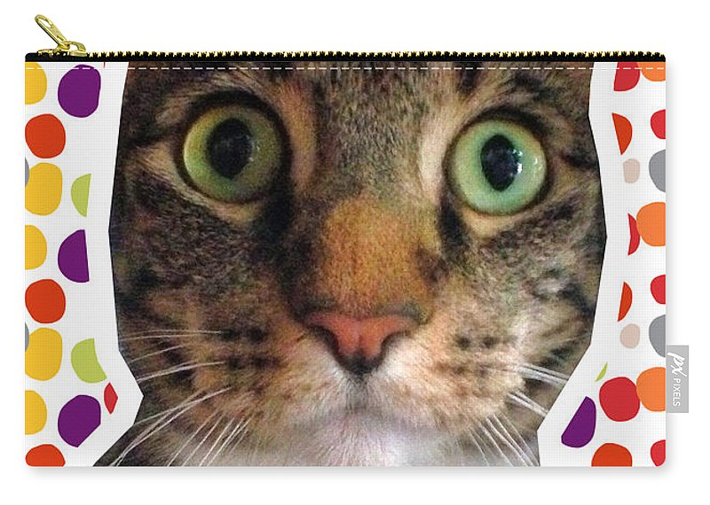 Cat Carry-all Pouch featuring the photograph Party Animal- Cat With Confetti by Linda Woods