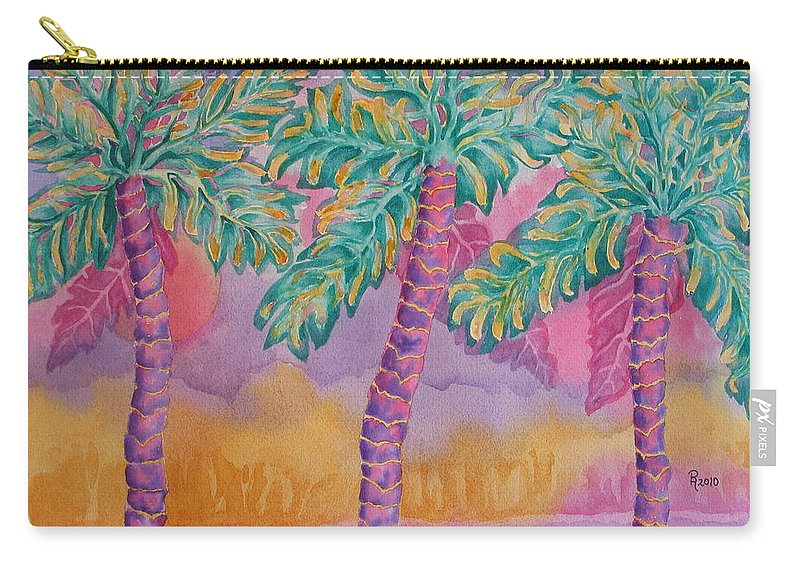 Palm Tree Carry-all Pouch featuring the painting Party Palms by Rhonda Leonard