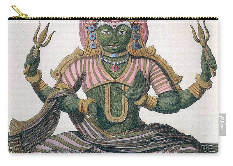 Parachati Carry-all Pouch featuring the drawing Parvati, From Voyage Aux Indes Et A La by Pierre Sonnerat