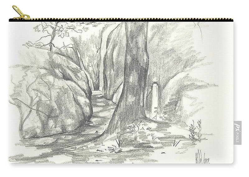 Passageway At Elephant Rocks Carry-all Pouch featuring the drawing Passageway At Elephant Rocks by Kip DeVore