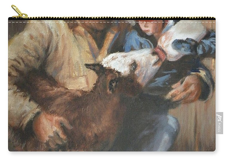 Ranching Carry-all Pouch featuring the painting Passing The Torch by Mia DeLode