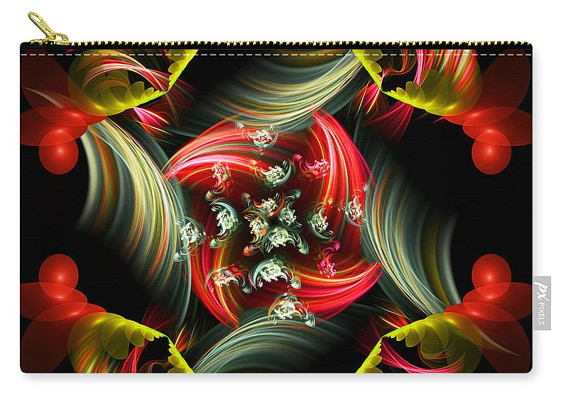 Abstract Carry-all Pouch featuring the digital art Passionate Love Bouquet Abstract by Georgiana Romanovna