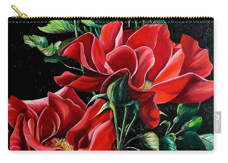 Rose Paintings Red Floral Paintings Flower Paintings  Botanical Paintings Red Rose Paintings Greeting Card Paintings Canvas Print Paintings  Carry-all Pouch featuring the painting Passionately Red by Karin Dawn Kelshall- Best