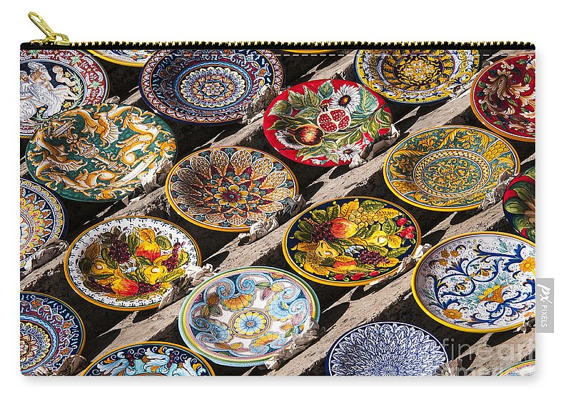 Perugia Italy Umbria Pasta Bowl Ceramic Bowls Plate Plates Still Life Street Market Markets Carry-all Pouch featuring the photograph Pasta Bowls by Bob Phillips