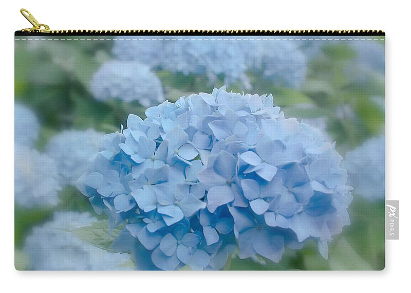 Flower Carry-all Pouch featuring the photograph Pastel Blue Hydrangea by Kim Hojnacki